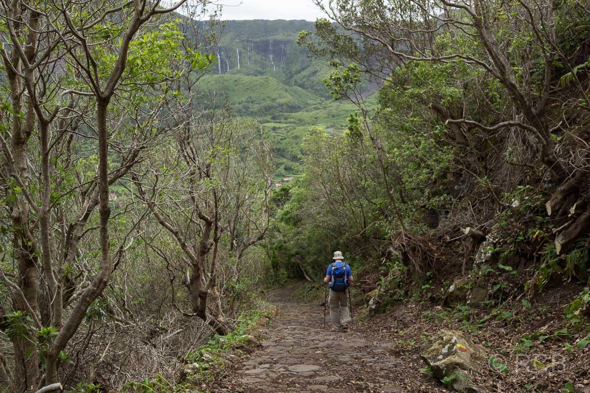 Mann beim Abstieg auf einer Wanderung auf dem PR2FLO