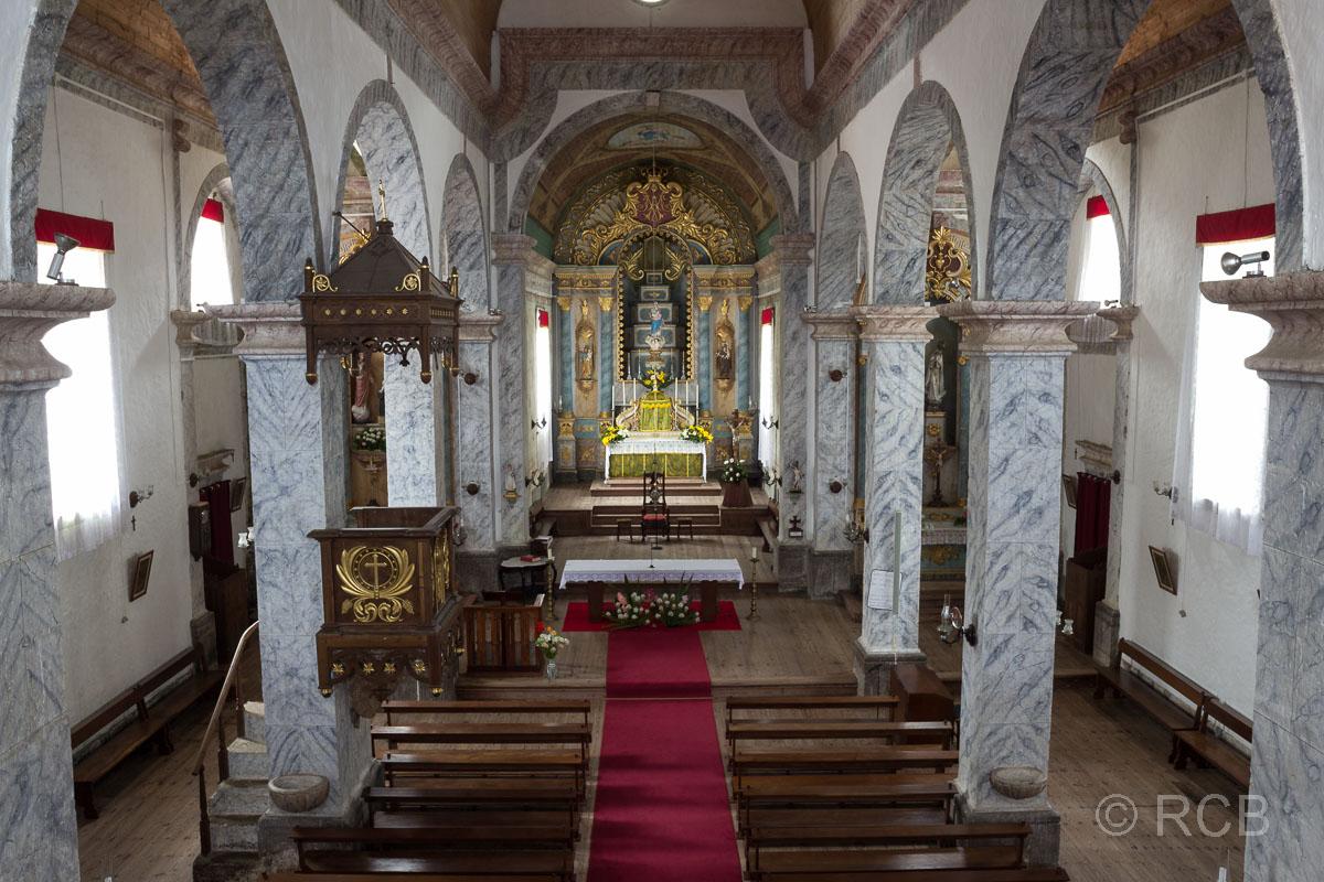 Fajãzinha, Inneres der Igreja Nossa Senhora dos Remedios