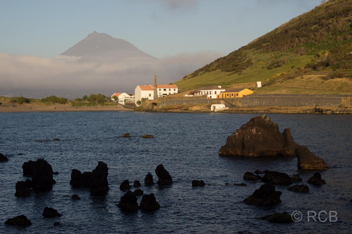 Horta, Hafenbecken Porto Pim mit Blick zum Pico