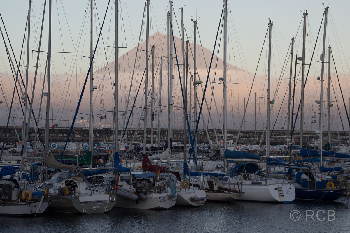 Segelyachten im Hafen von Horta mit dem Gipfel des Pico im Hintergrund