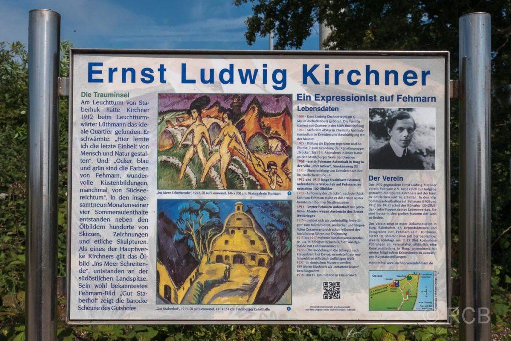 Schild mit Gemälde des Gutes Staberhof von Ernst Ludwig Kirchner aus dem Jahre 1913