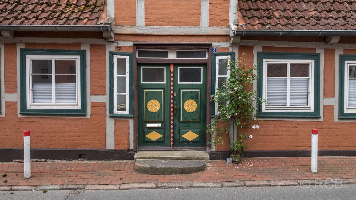 Preetz, geschmückste Holztür in der Altstadt