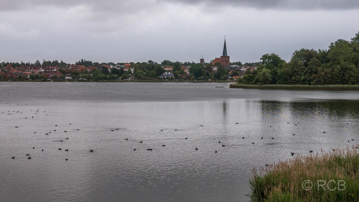 Blick über einen See auf Neustadt in Holstein
