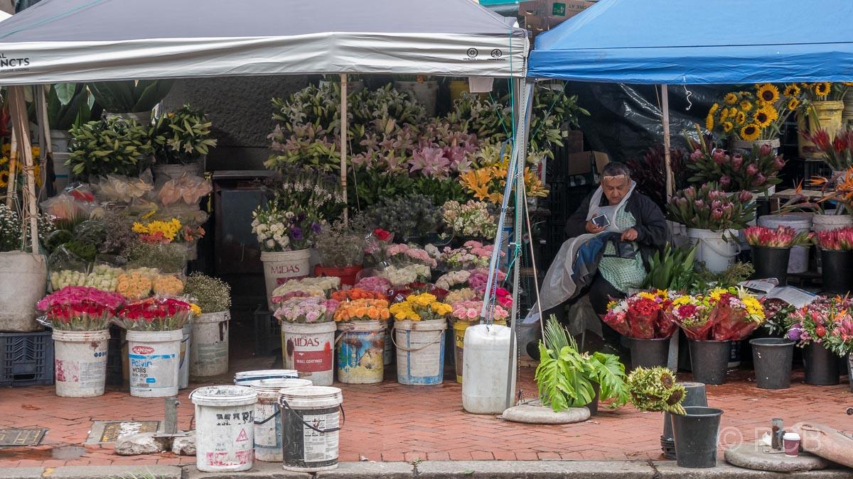 Frau vor ihrem Verkaufsstand auf dem Blumenmarkt