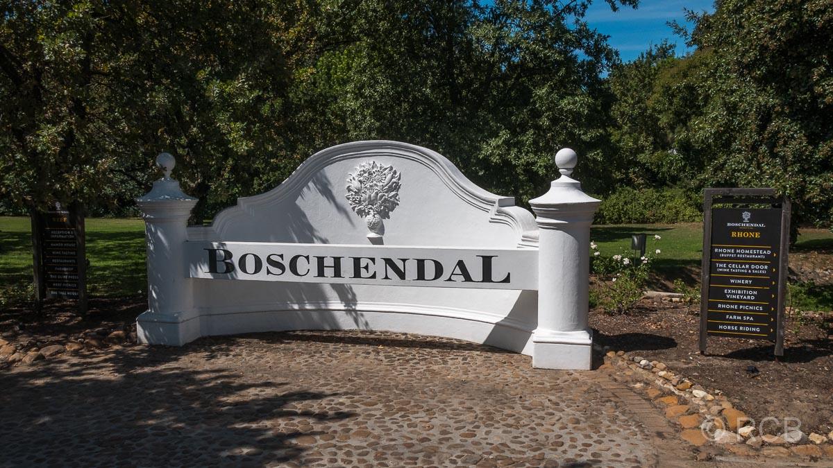 """Weingut """"Boschendal"""", Eingangsschild"""