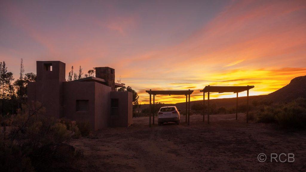 Sonnenaufgang über unserem Ferienhaus, Kromrivier