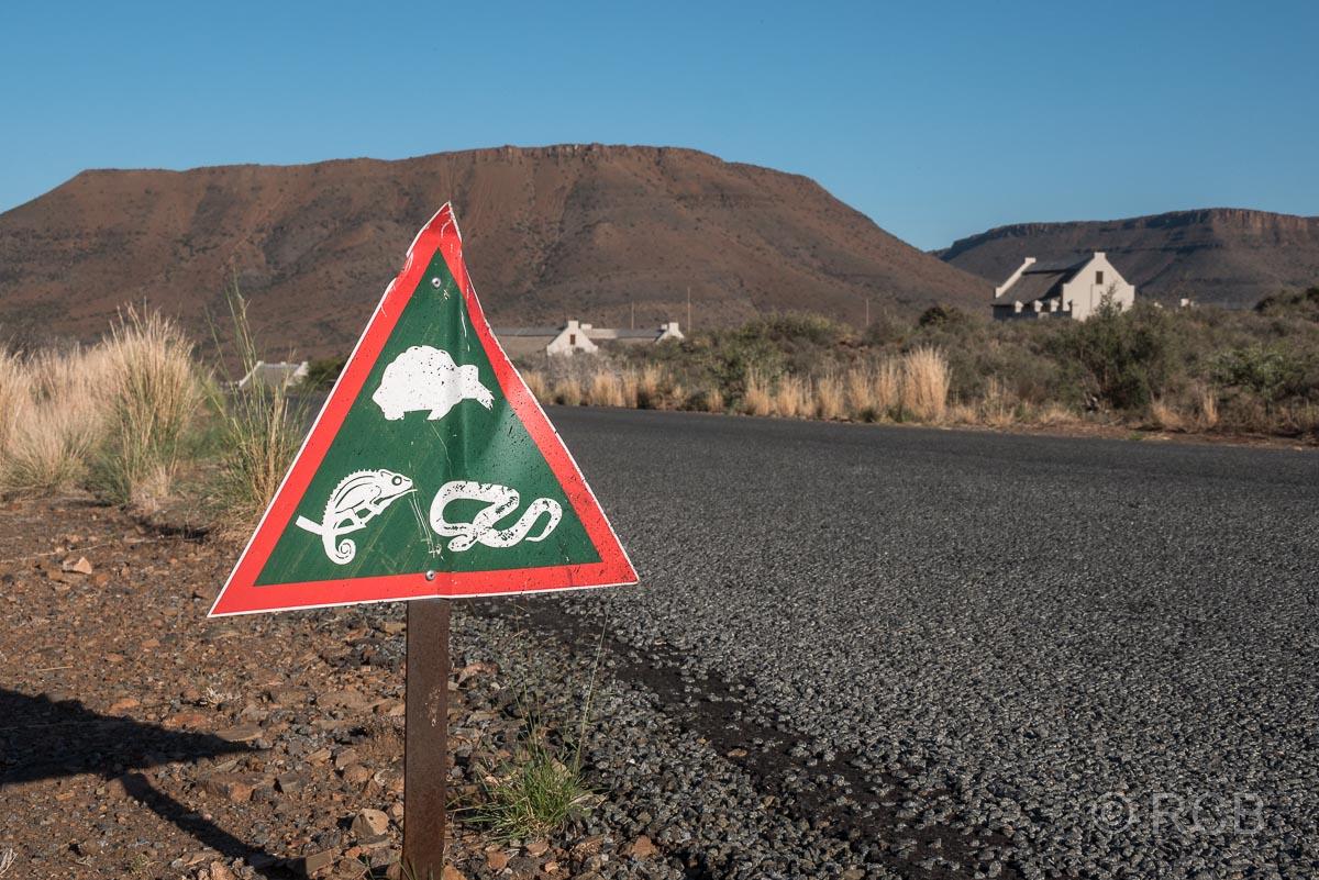 Warnschild im Karoo National Park