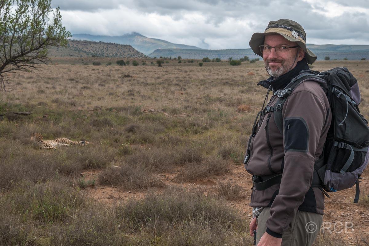 Mann betrachtet einen Geparden, Mountain Zebra National Park