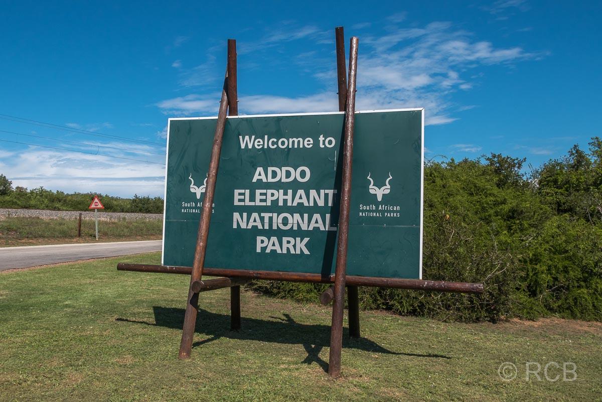 Einfahrtsschild zum Addo Elephant National Park