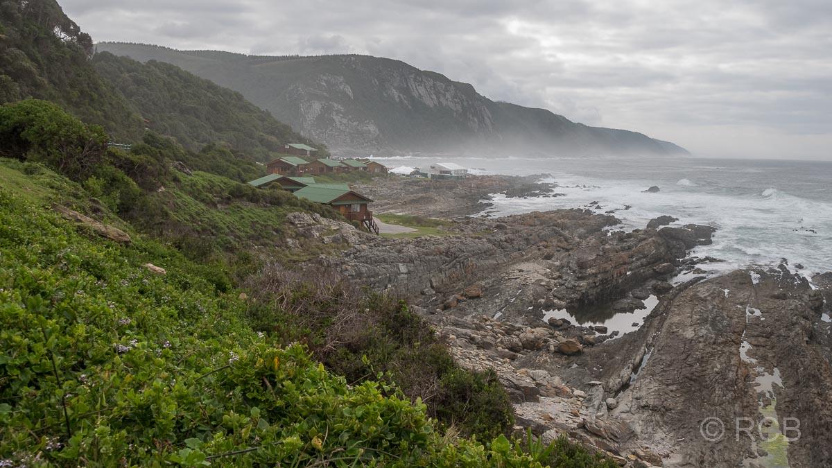 Storms River Mouth Camp und sturmumtoste Küste, Tsitsikamma Section des Garden Route National Park