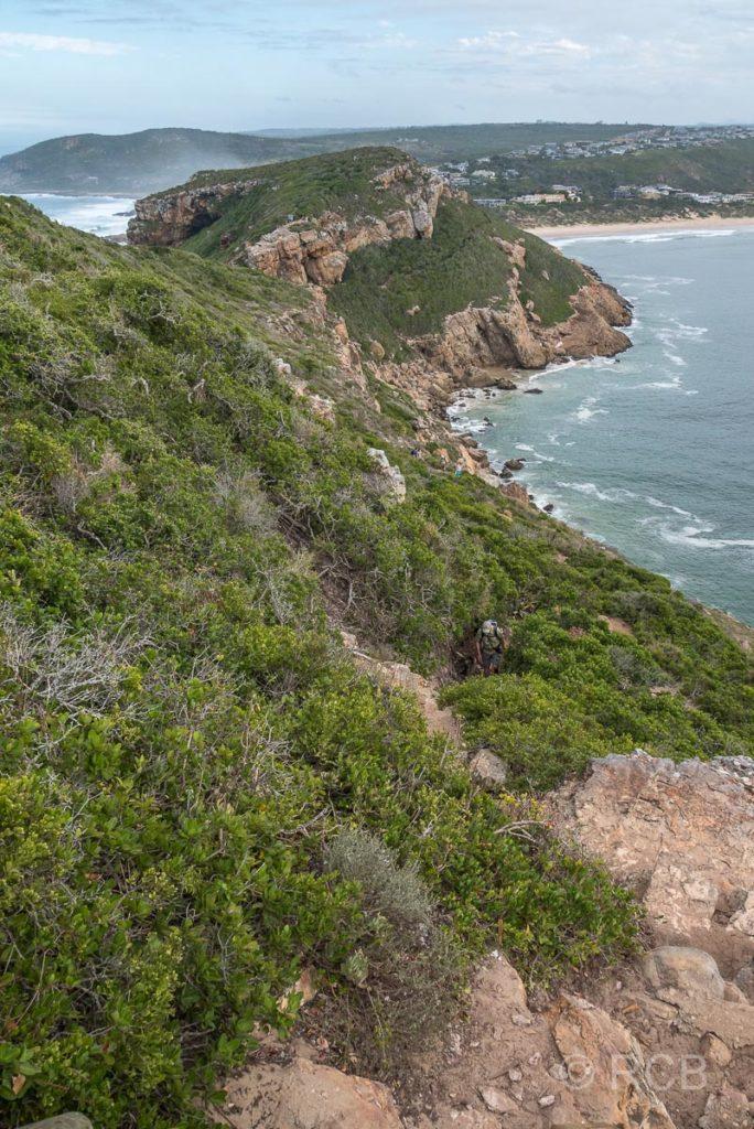 Rückblick von der Robberg Peninsula zurück zur Küste