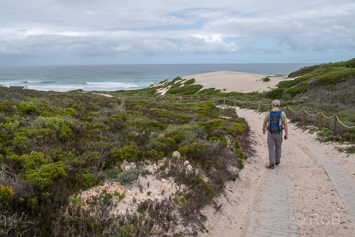 Mann wandert zum Strand bei Koppie Alleen, De Hoop Nature Reserve