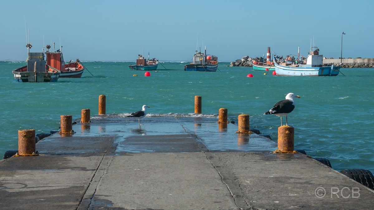 Mole und Fischkutter im Hafenbecken in Struusbai