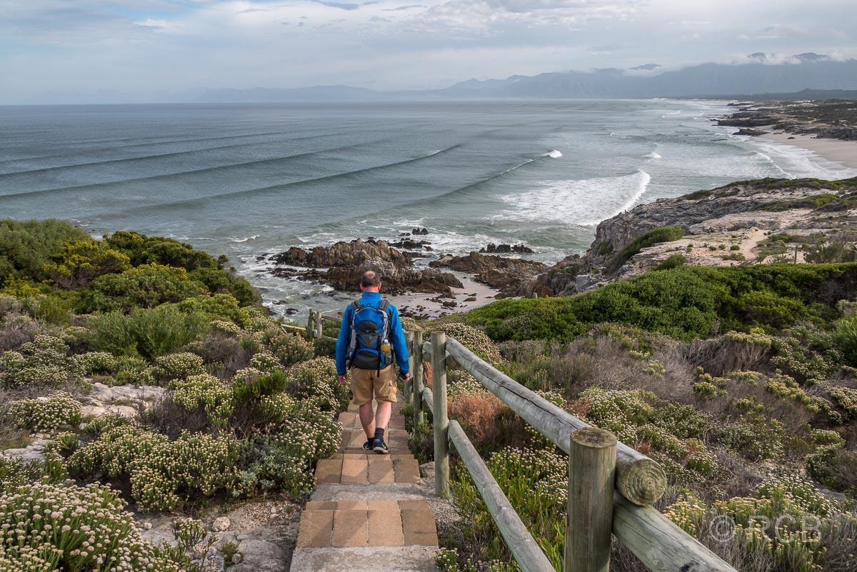 Mann wandert hinab zur Klipgat Cave mit Blick auf die Küste