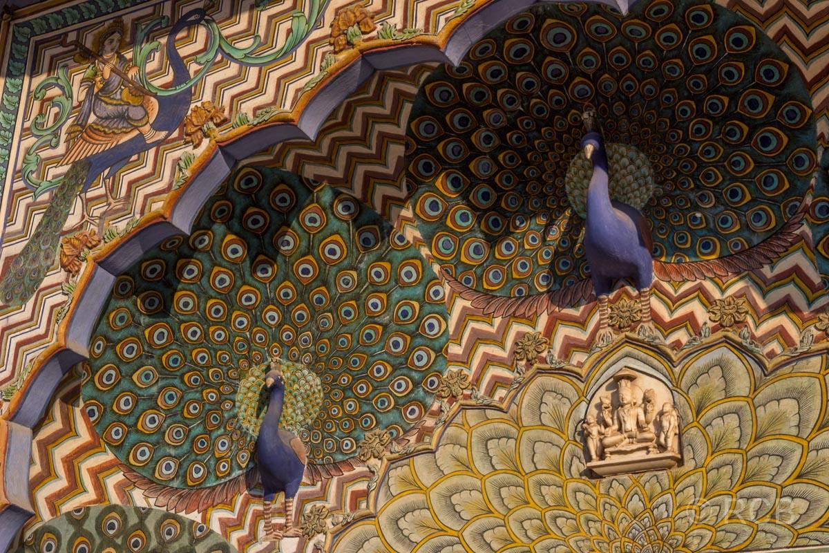 Jaipur, Stadtpalast, Detail im Pfauenhof