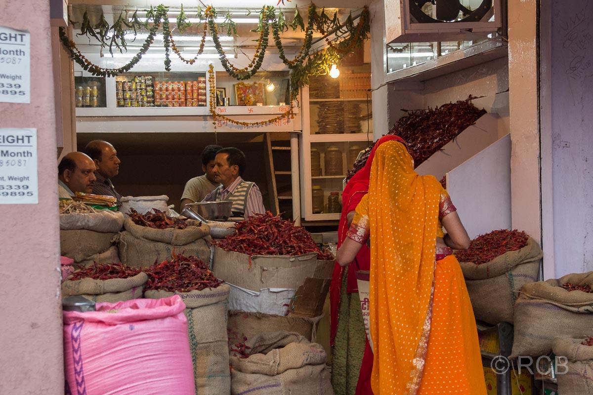 Laden zum Verkauf von Chilis, Jaipur, Altstadt
