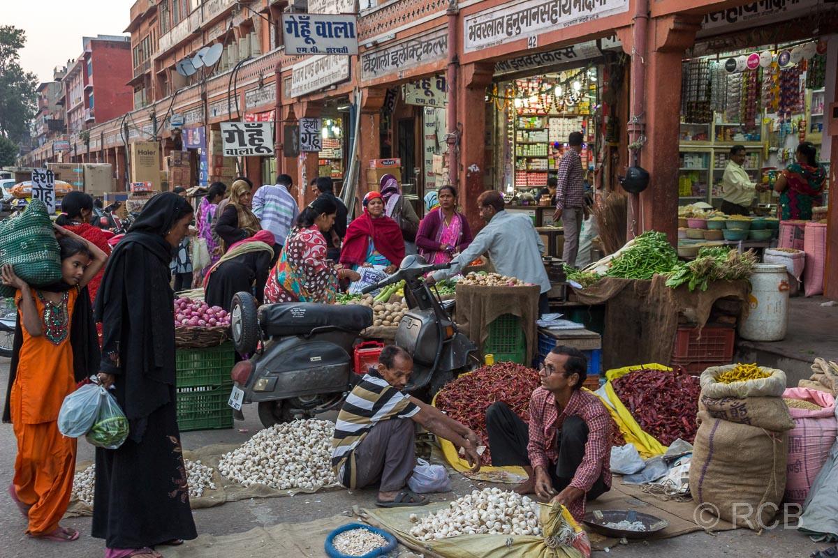 Straßenverkauf von Gemüse, Jaipur, Altstadt