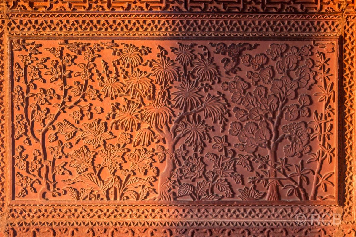 Fatehpur Sikri, Detailgravur am Haus der türkischen Sultana