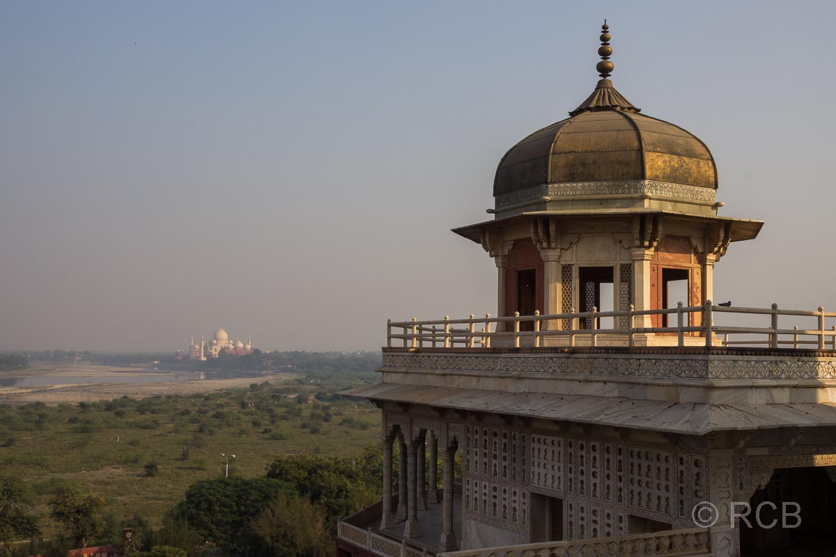 Agra, Rotes Fort, Blick zum Taj Mahal