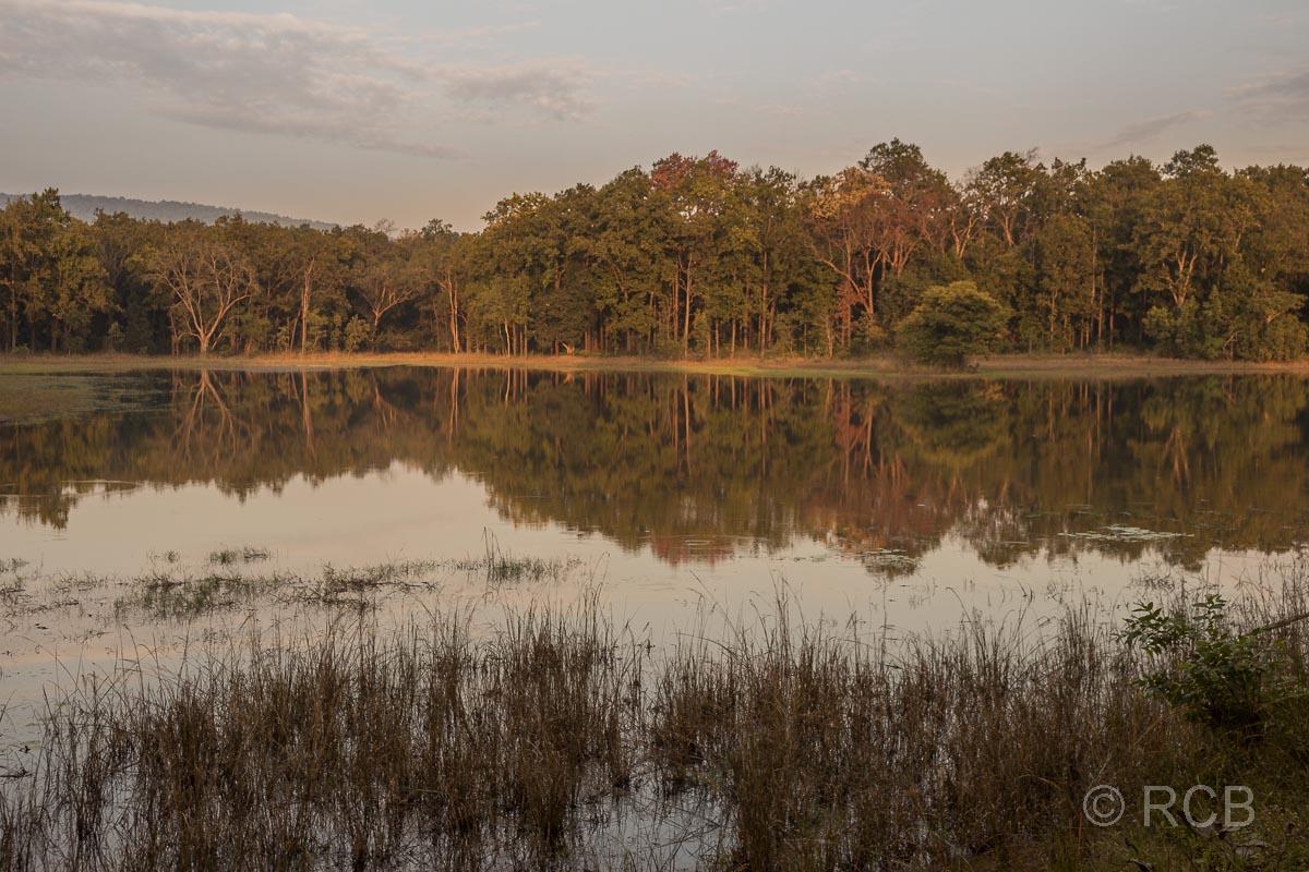 Abenstimmung über einem See im Kanha National Park
