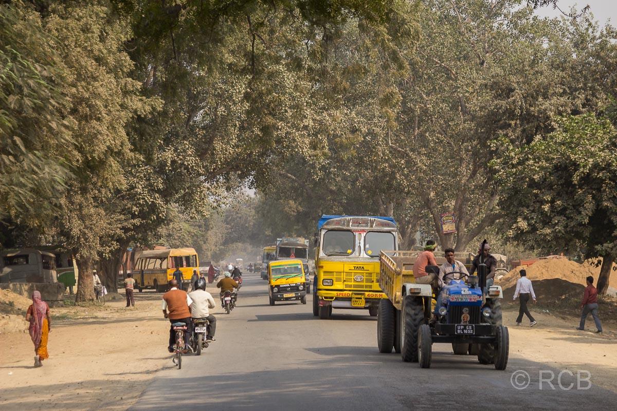 staubige Allee auf der Fahrt durch Uttar Pradesh