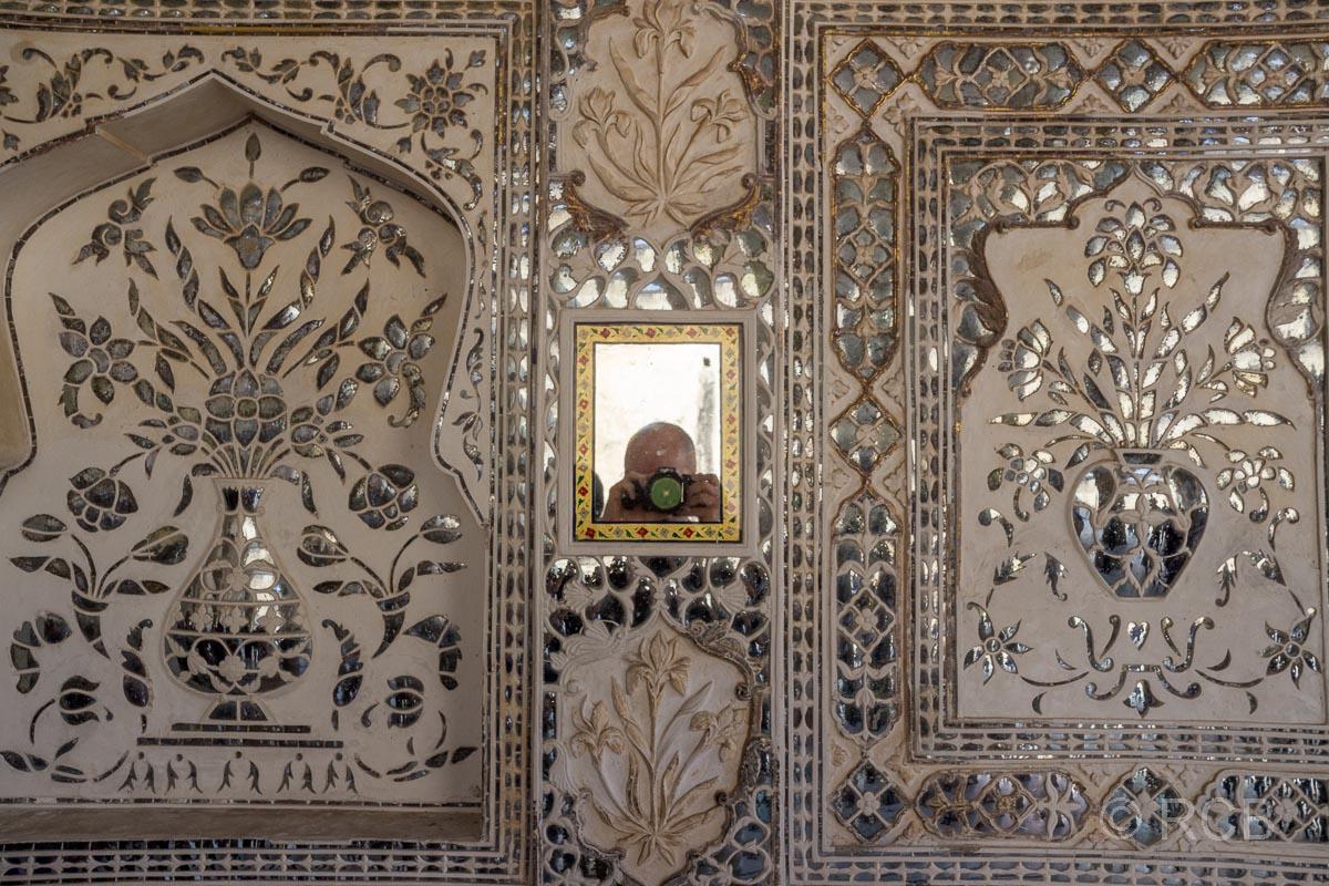 Amber Fort, Audienzhalle Diwan-i-Khas, Fotografen-Selbstporträt im Spiegel