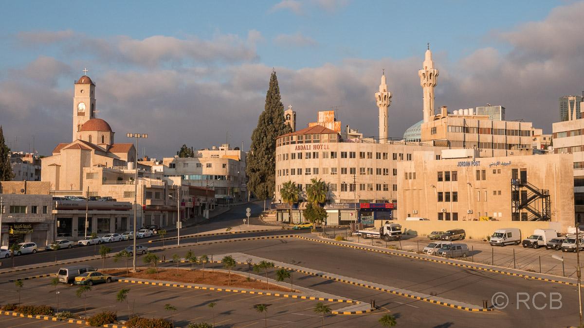 König Abdullah-Moschee beim Blick aus meinem Hotelzimmerfenster, Amman