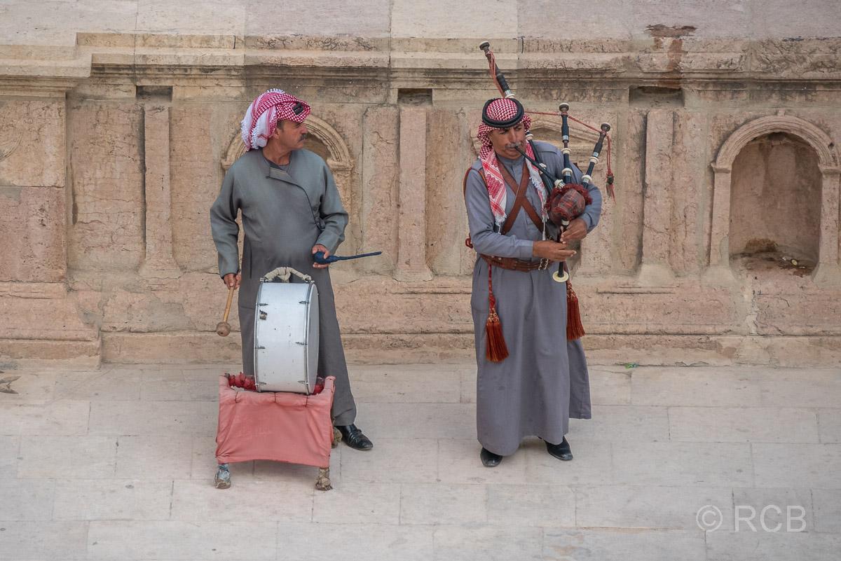 Jerash, Südtheater, Dudelsackspieler