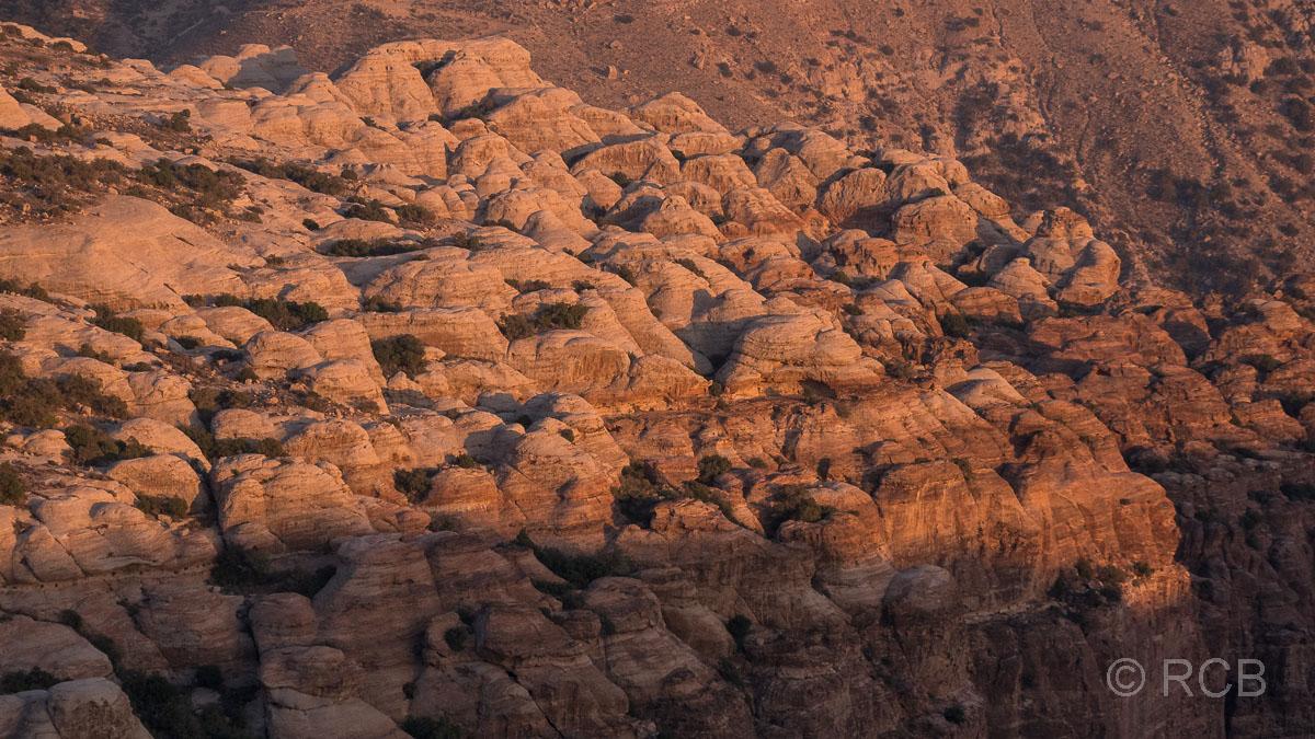 goldenes Abendlicht im Dana Naturreservat auf buckeligen, gestreiften Felsen