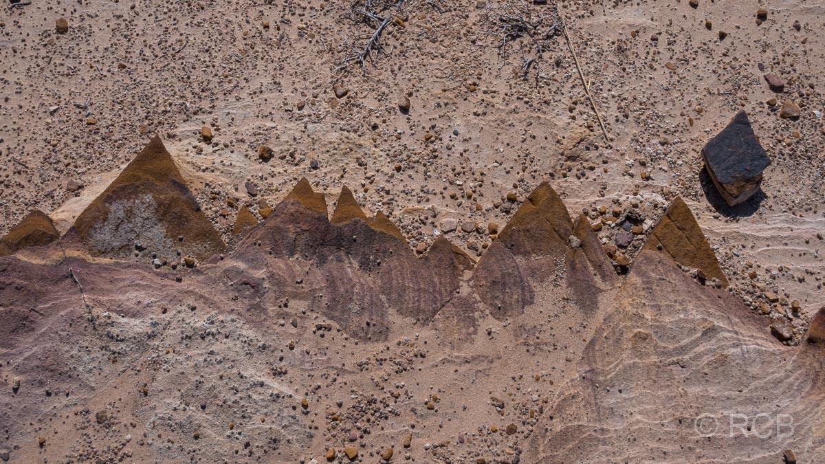 bunter Fels am Rummana Mountain Trail, Dana Naturreservat