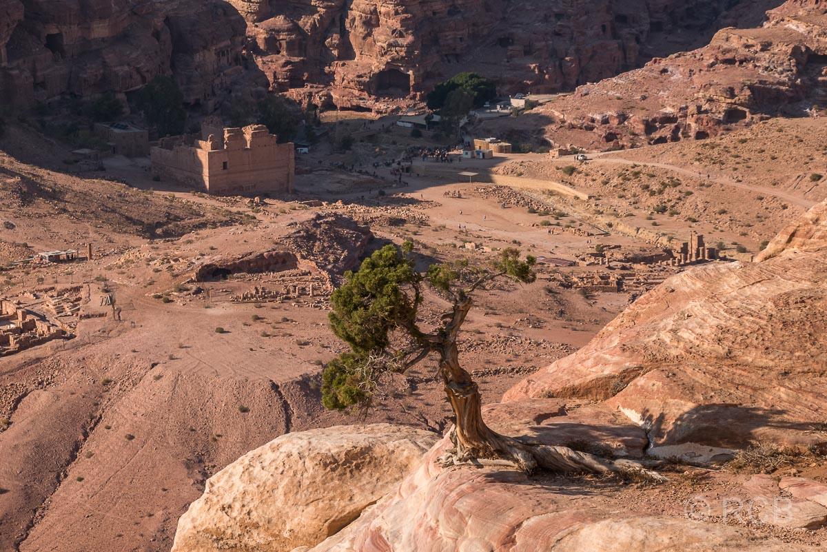 "Blick vom Hohen Opferplatz zum Qasr el Bint Faraun, dem ""Palast der Pharaonentochter"""