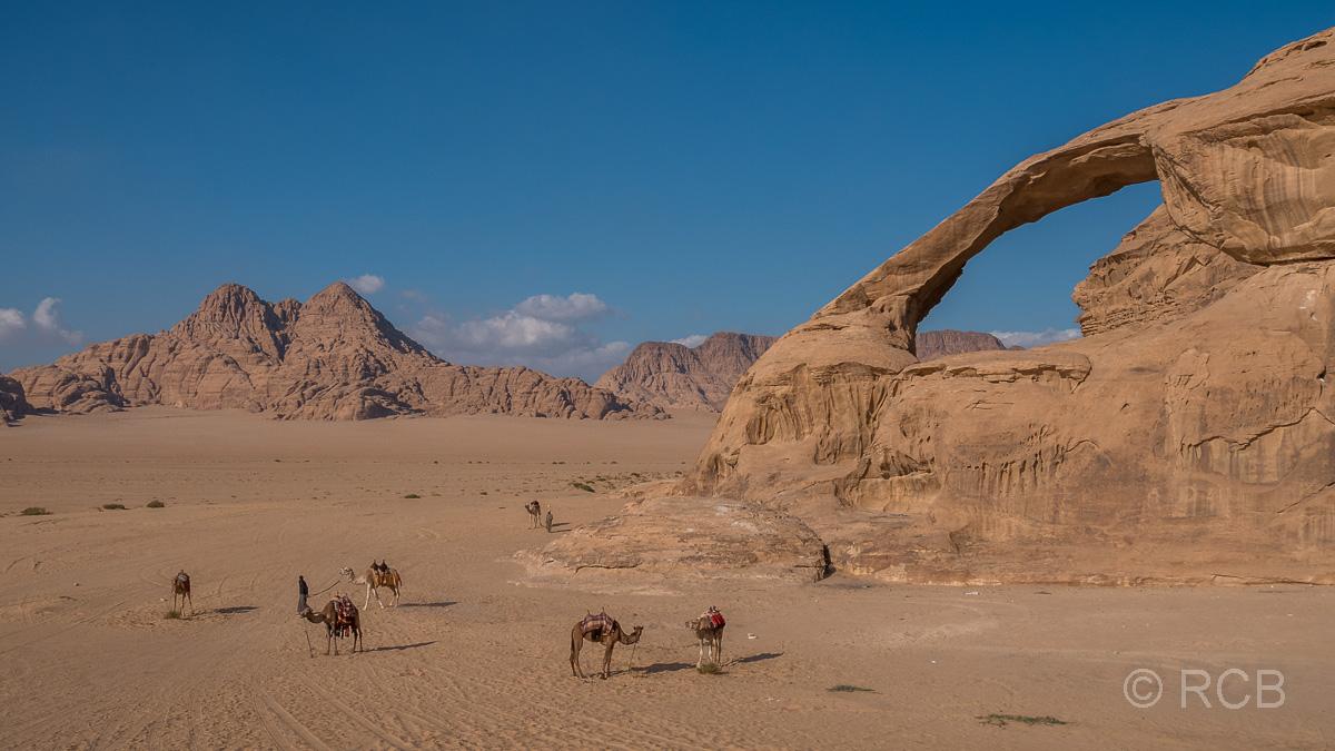 Felsbogen mit Dromedaren davor im Wadi Rum