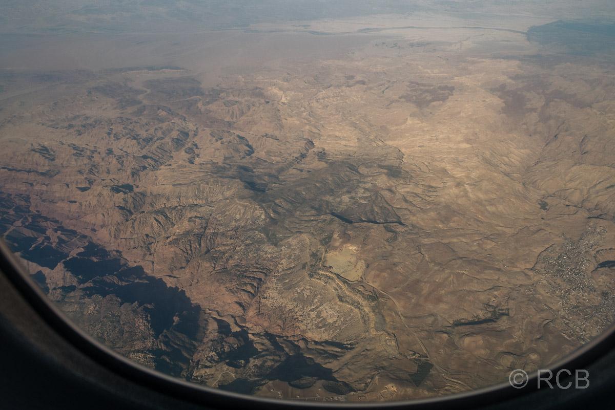 Blick aus dem Flugzeug auf das Dana-Naturreservat