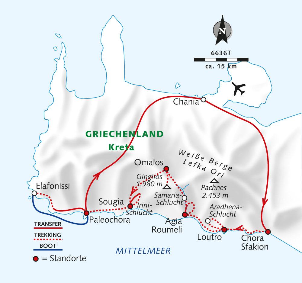 Karte mit der Reiseroute vom Veranstalter Wikinger-Reisen