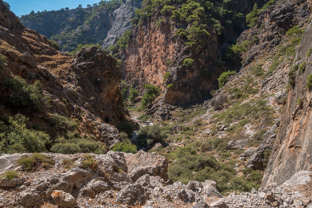 Aradhena-Schlucht, Rückblick beim Ausstieg Richtung Livaniania