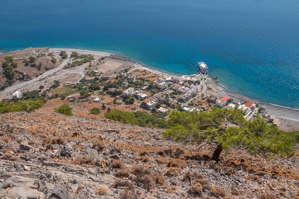Blick aus der Vogelperspektive auf den Ort Agia Roumeli