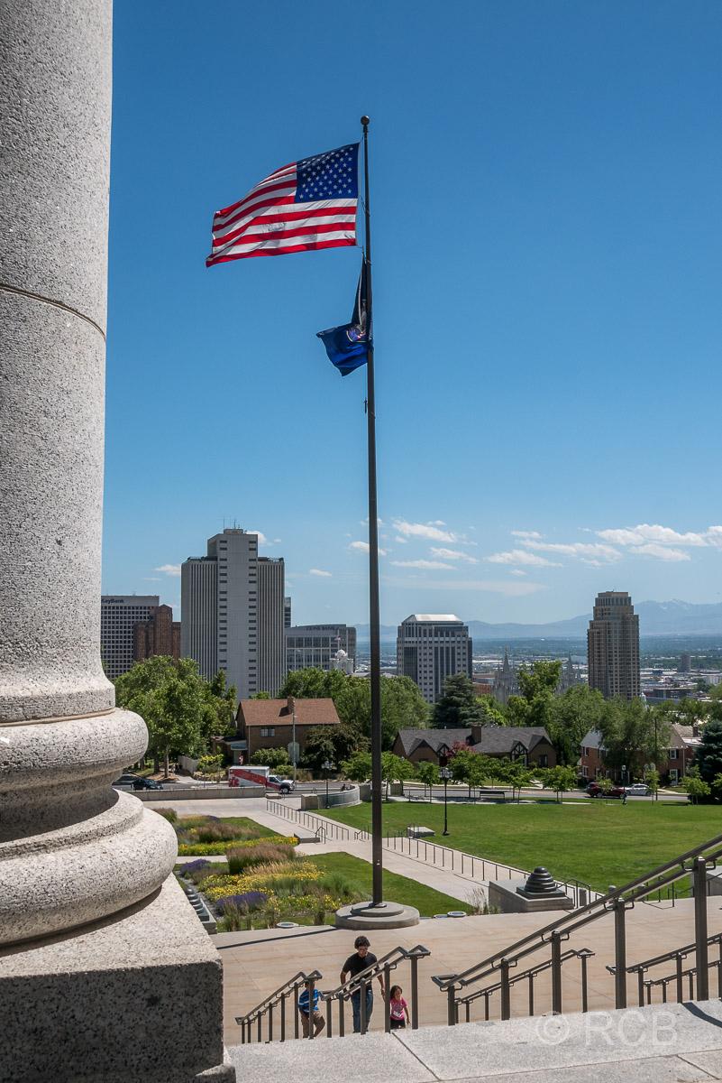 Blick von den Stufen des Capitols, Salt Lake City