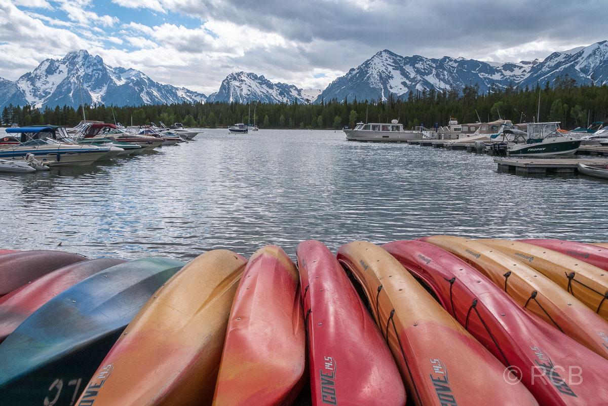 Boote in der Colter Bay, Grand Teton NP