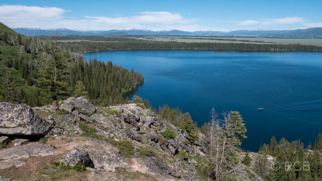 Blick vom Inspiration Point auf den Jenny Lake, Grand Teton NP