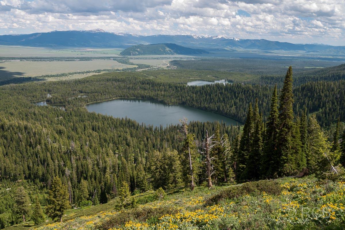 Amphitheater Lake Trail, Grand Teton NP, Blick auf Bradley Lake und Taggart Lake