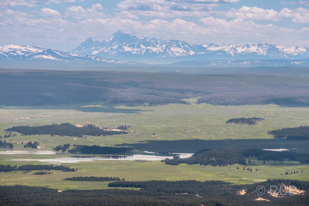 Mount Washburn Trail, Blick nach Süden zu den Grand Tetons, Yellowstone NP