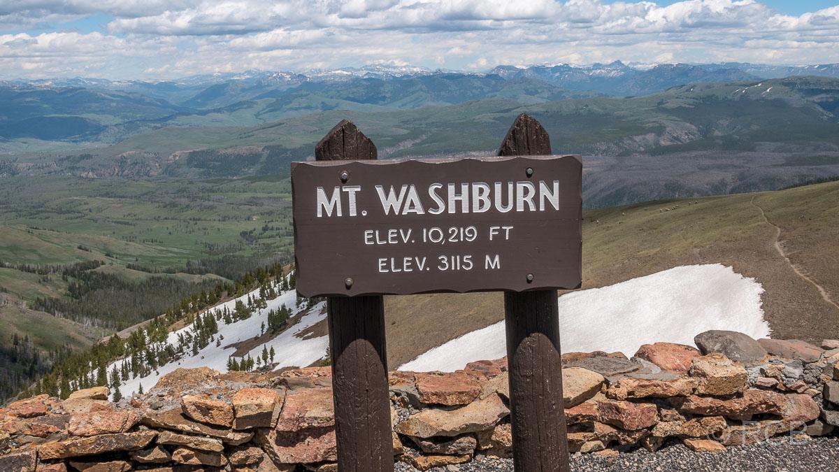 Mount Washburn, Yellowstone NP, Gipfelschild