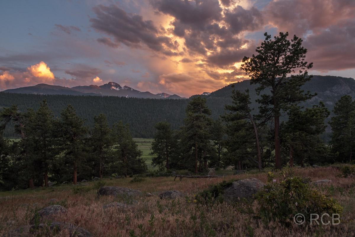 abendlicher Ausblick von unserer Sitzgruppe am Moraine Park Campground, Rocky Mountain NP