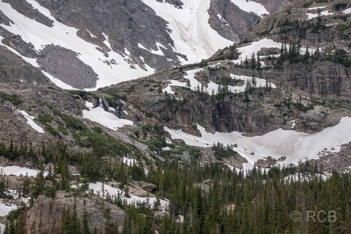 Blick von The Loch Richtung Sky Pond, Rocky Mountain NP