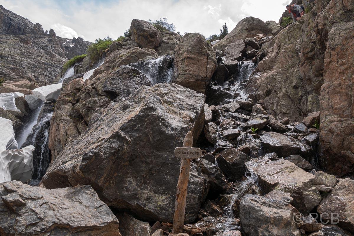 Aufstieg zum Lake of Glass entlang der Timberline Falls, Rocky Mountain NP
