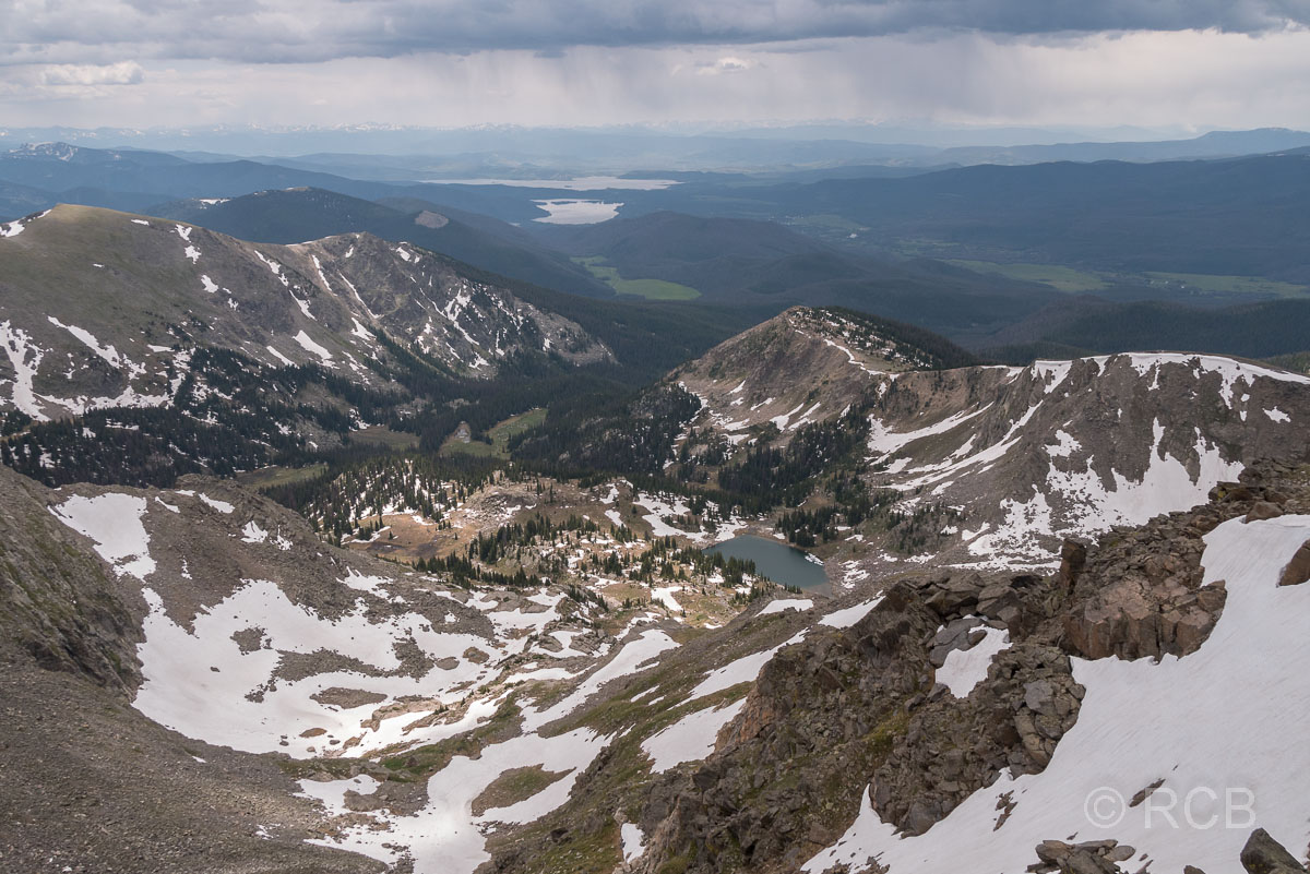 Blick vom Mount Ida Richtung Süden zum Grand Lake und Lake Granby, Rocky Mountain NP