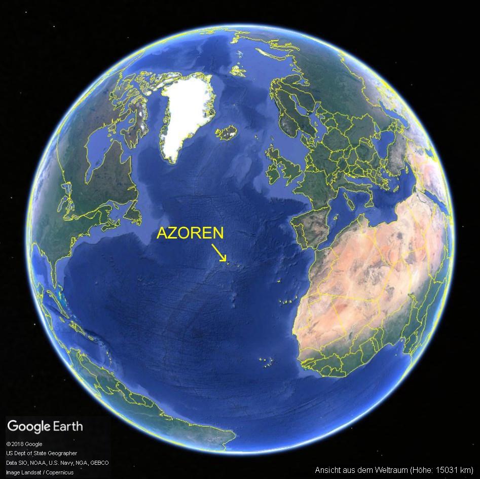 Lage der Azoren im Atlantik auf Google Earth