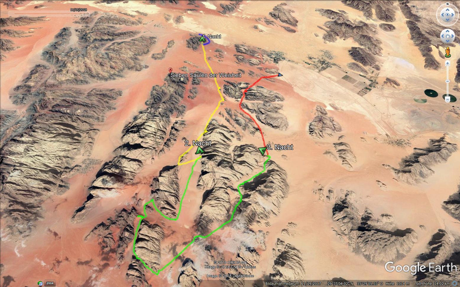 Google Earth-Karte einer Route der 3½-Tage-Wanderung im Wadi Rum