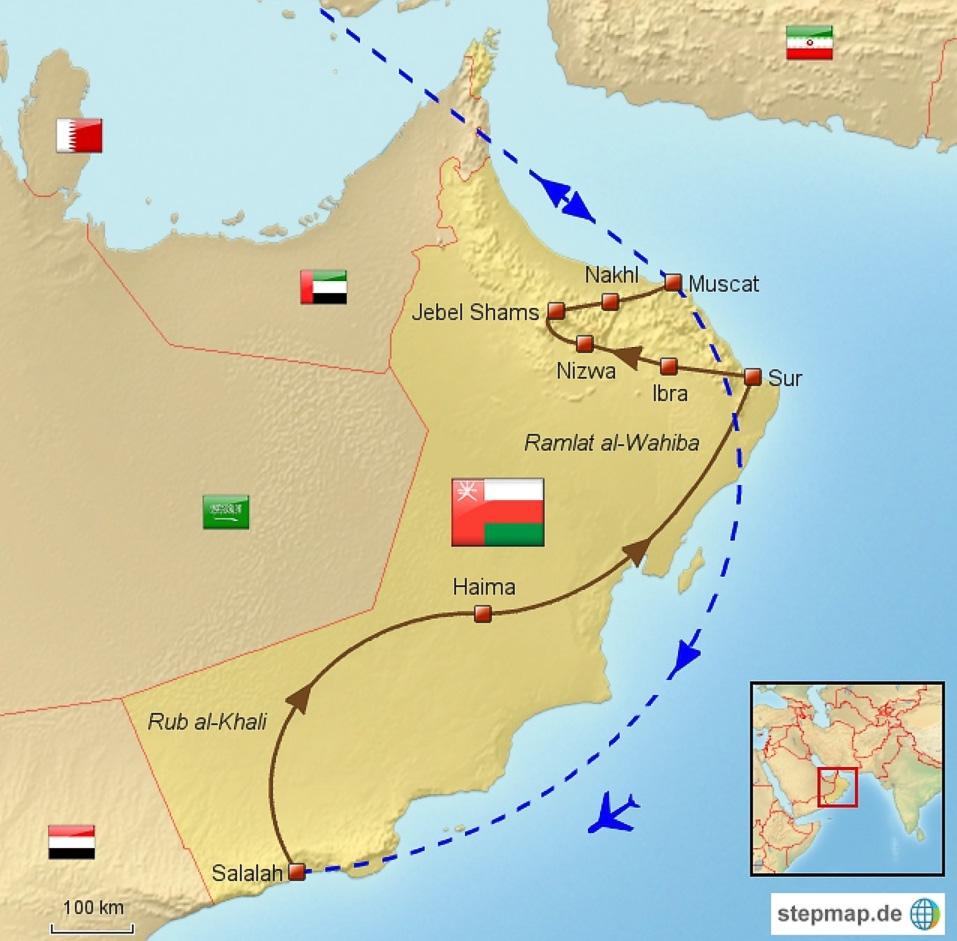 Karte einer Reiseroute durch den Oman