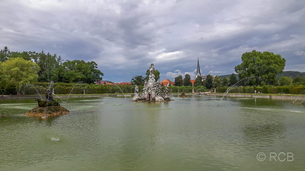 Schlossgarten Veitshöchheim, Großer See mit Fontäne